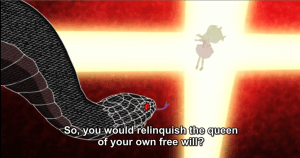 If this is the snake Azami talked with, and the queen is another snake, it's unclear exactly what the queen is. I'M SO CONFUSED.