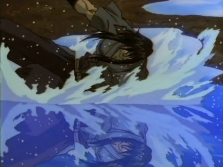 Seijuro falling to his apparent death