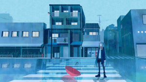 miku in the rain