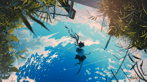 anime girl upside down falling clouds