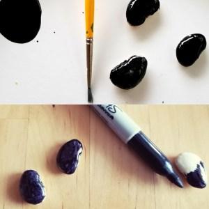 Favomancy: Divining with beans Paint brush, black paint - black permanent marker