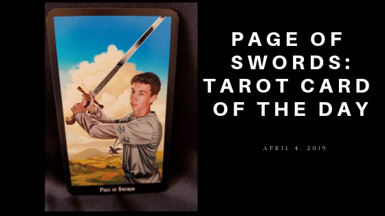 Page of Swords - A young man holding a sword at the ready