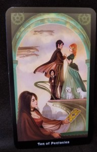 Ten of Pentacles - Woman reading tarot card glancing at  a family