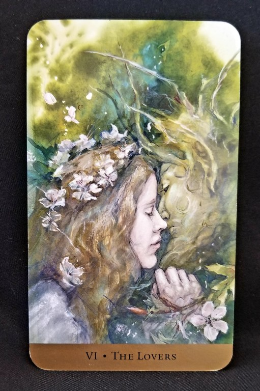 The Lovers - Tarot Card: A woman wreathed in flowers and a man with antlers kissing