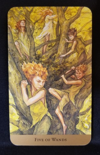 Five of Wands Tarot - Five faeries in sitting in a tall tree, holding on for dear life