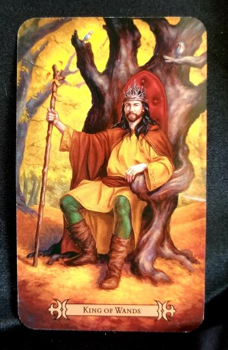King of Wands - Tarot - A King holding a staff sitting on a throne which is part of a tree