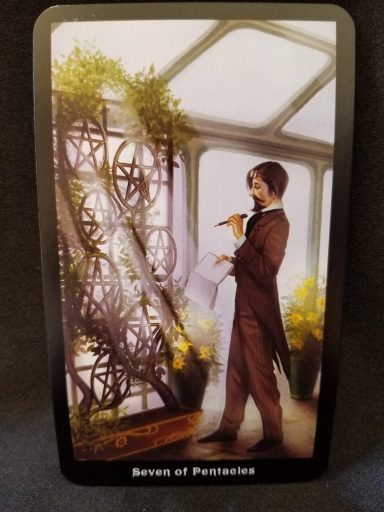"Seven of Pentacles - A man holding a ledger looking at a wall of ""growing"" pentacles"