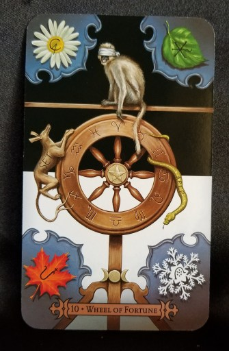 Wheel of Fortune Tarot Card - A blindfolded monkey sitting on a wheel, surrounded by occult symbols