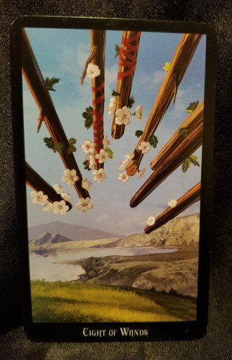 Eight of Wands-Tarot Card: Eight flowered wands point towards a verdant expanse