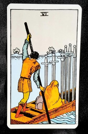 Six of Swords - A man poling a skiff across the river.  He has two passengers and there are 6 swords stuck into the vessel.