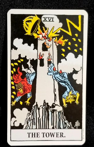 The Tower - Tarot Card:  A tower that has been hit by lightning.  Two people are falling off of the Tower.
