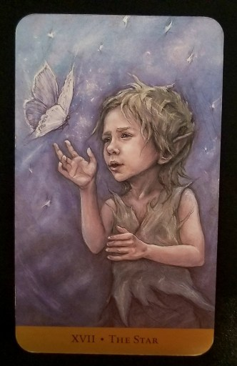 The Star - Tarot Card:  A young, elfin boy reaching his hand towards a white butterfly.  A look of wonder is on his face.