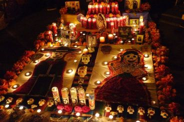 Ancestral Altars - a gravesite in Mexico decorated for Dia de los Muertos