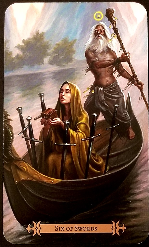 Six of Swords- A gur guides a boat along a river.  A young, cloaked, woman sits in the bow, eyes closed, holding a box in upraised hands.