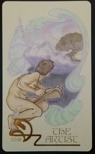 The Artist - A nude man with wings on his heels peering through a cloud at a tree.