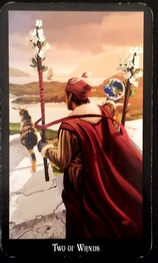 Two of Wands- A man looking out onto a vast landscape.  A Tabby cat sits in front of him.