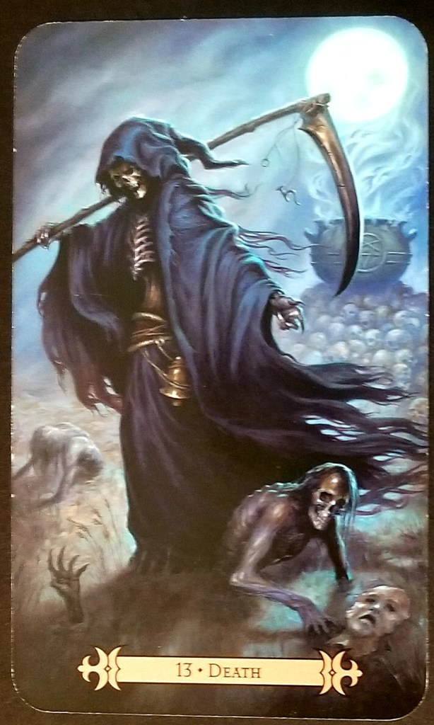 "Death-Tarot Card of The day""  A scythe weilding death piints down at a lost soul."
