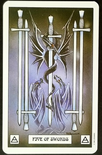 Five of Swords- Two small silver dragons snarl up at a black dragon curled around a sword.