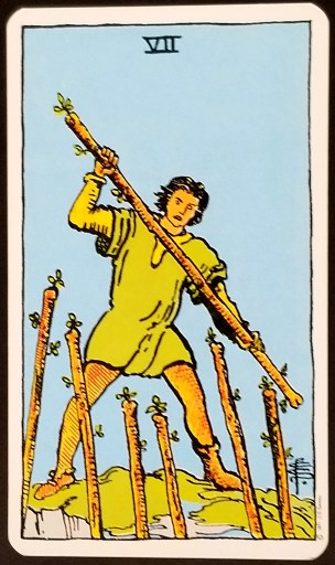 Seven of wands- A Man holding a staff stands on a rise above 6 other staffs.