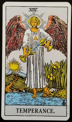 Temperance- An Angel pouring liquid from one cup to another. The angel has one foot on the shore, one in the water.