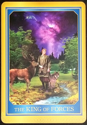 King of Forces - A man stands in a stream. A stag, wolf, and hare stand beside him.
