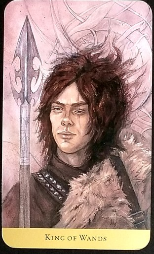 King of Wands- Tarot Card: A fierce warrior with a scar over his left eye stares out at you.  He holds a sharp spear.