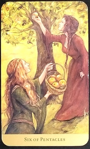 Six of Pentacles- Two women picking apples