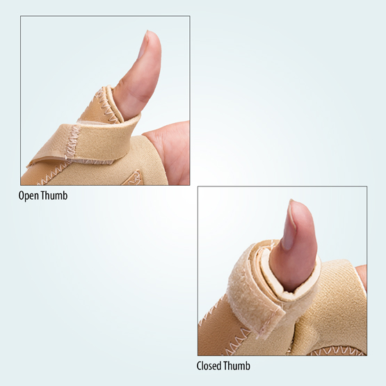 open & closed benecare neo-wrap wrist thumb support