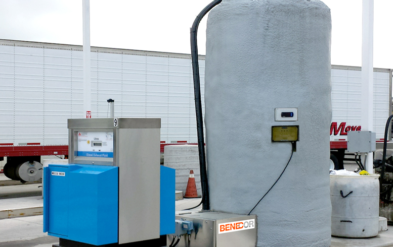 DEF Installation Fueling Station Island Cold Weather Bulk Tank & Piping Bridge Photo