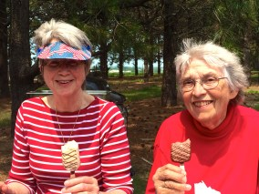 Sisters Terri and Adrienne enjoy an ice cream together