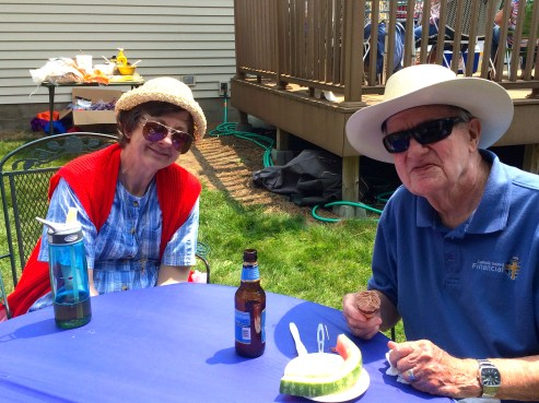 Sr. Marva and Fr. Jerome, chaplain to Benet Place, an Independent Senior Apartments and Assisted Living Facility sponsored by the Benedictine Sisters of Mother of God Monastery, enjoy watermelon on a hot day