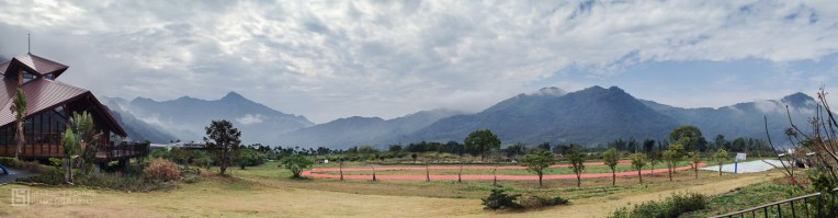 A running track and basketball court in the mountains is heaven for the school kids.