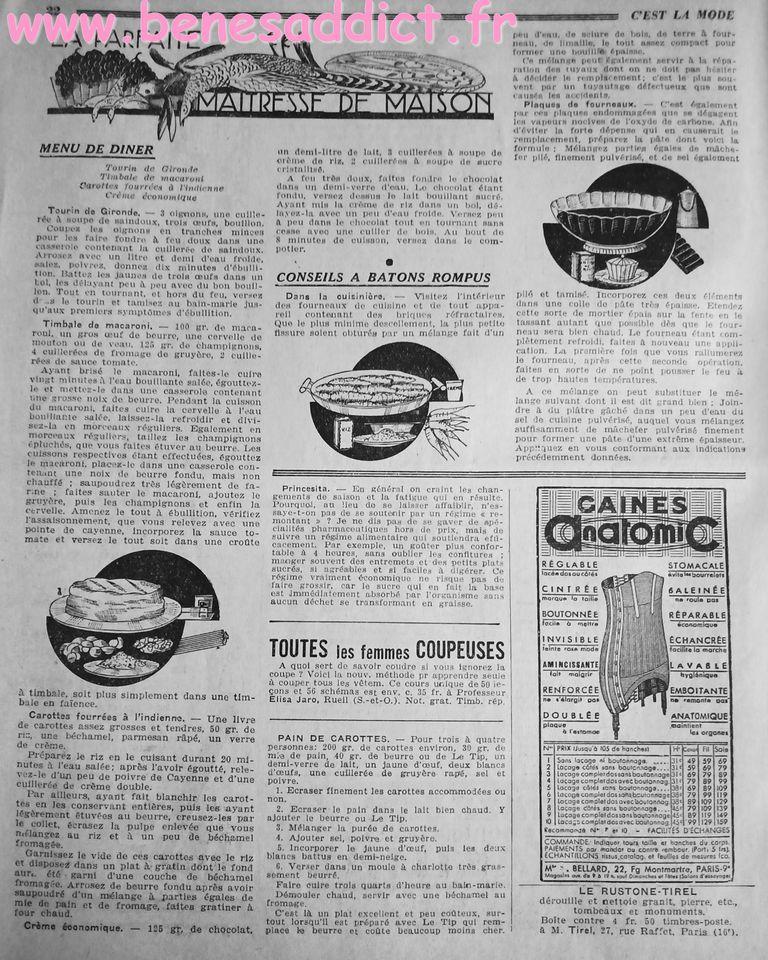 couture vintage tricot crochet bricolage 1933 avant-guerre patrons modeles gratuits , recettes de cuisine tranches de vie