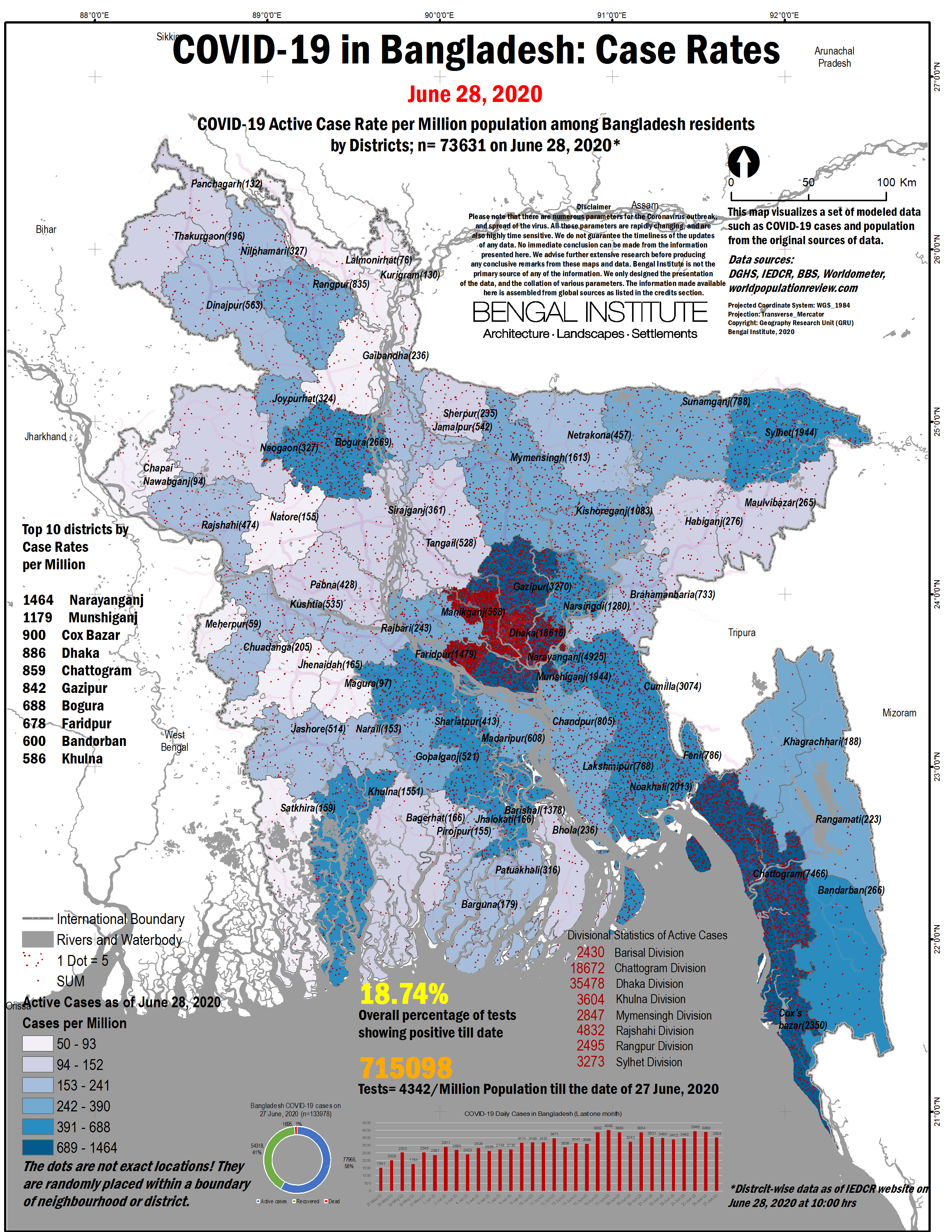 Covid19 Case Rate In Bangladesh Interactive Map Bengal Institute For Architecture Landscapes And Settlements