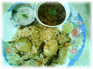 Egg Biriyani with Rajma Raitha
