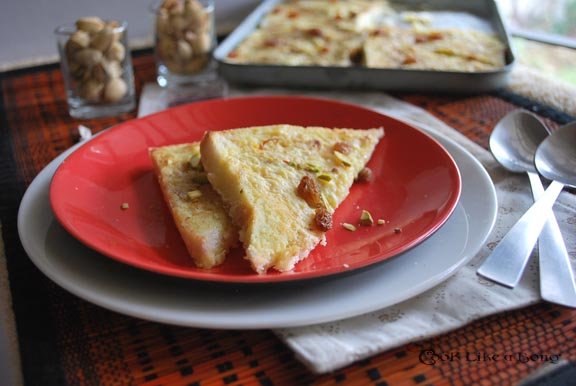 Eggless Indian bread pudding