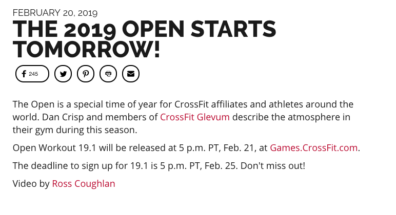 CrossFit released a quick statement regarding the beginning of the 2019 CrossFit Open