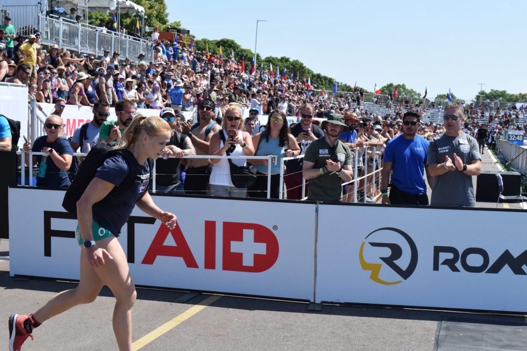 Annie Thorisdottir completes the Ruck Run event at the 2019 CrossFit Games