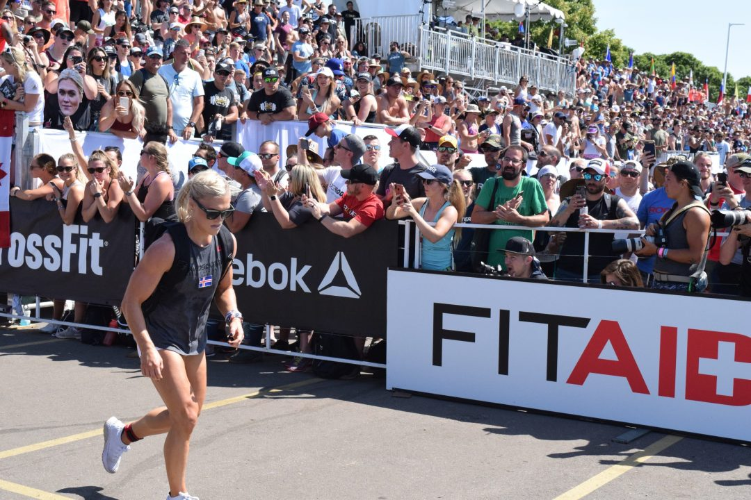 Katrin Davidsdottir in the CrossFit Games 2019 Ruck run.