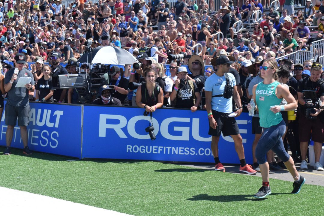 Brooke Wells enters the stadium for the first event of the 2019 CrossFit Games