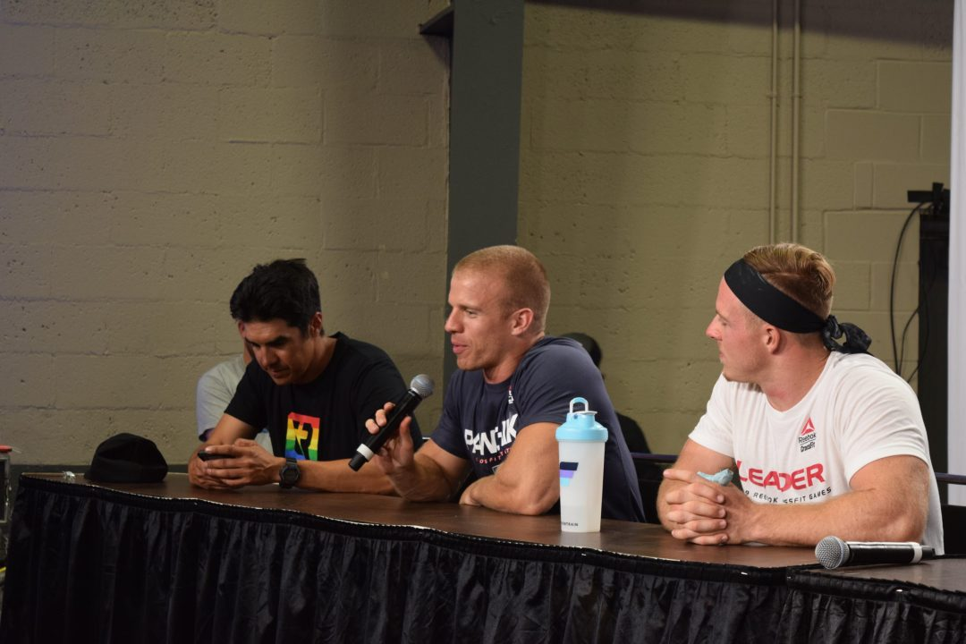 Scott Panchik answers questions during an end-of-day press conference with Dave Castro and Noah Ohlsen at the 2019 CrossFit Games