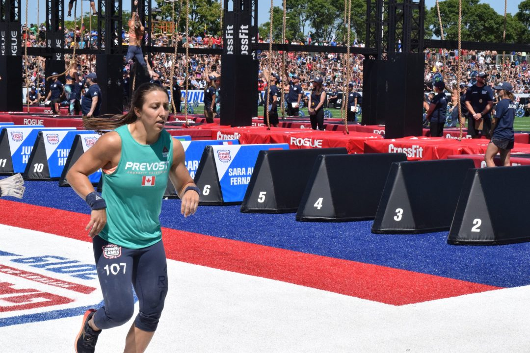 Carolyne Prevost completes a run before returning to legless rope climbs at the 2019 CrossFit Games