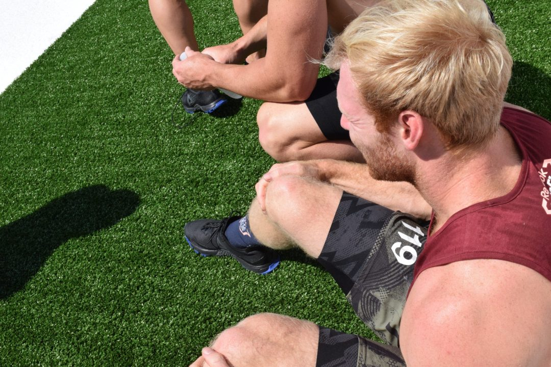 Patrick Vellner rests between heats of the Sprint event at the 2019 CrossFit Games.