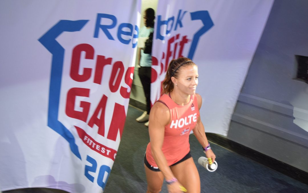 Kristin Holte enters the floor of the coliseum on the final day of the 2019 CrossFit Games.