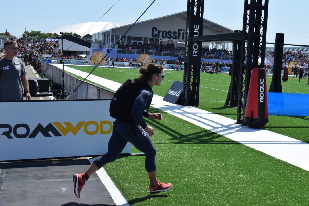 Bethany Shadburne of Streamline CrossFit completes the Ruck Run event at the 2019 CrossFit Games