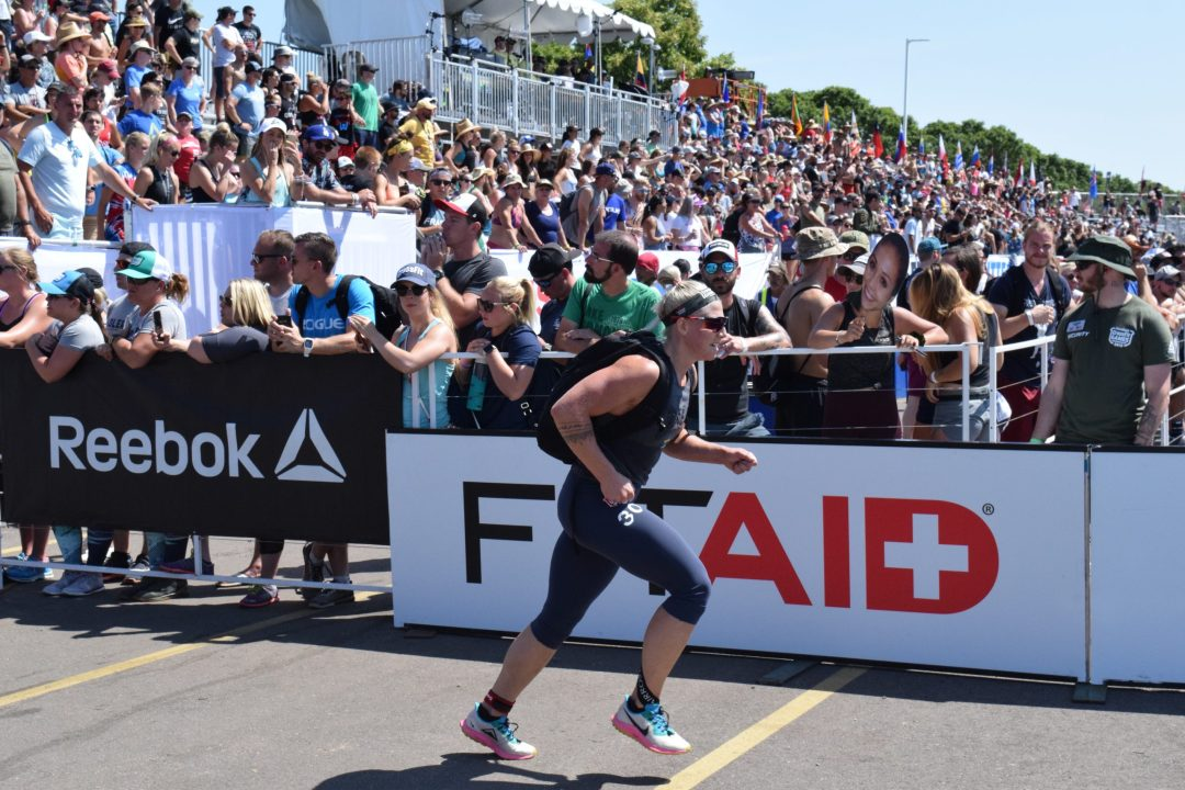 Emma Tall completes the Ruck Run event at the 2019 CrossFit Games.