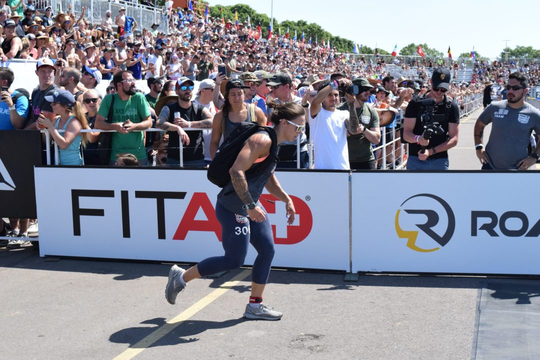 Meg Reardon completes the Ruck Run event at the 2019 CrossFit Games.