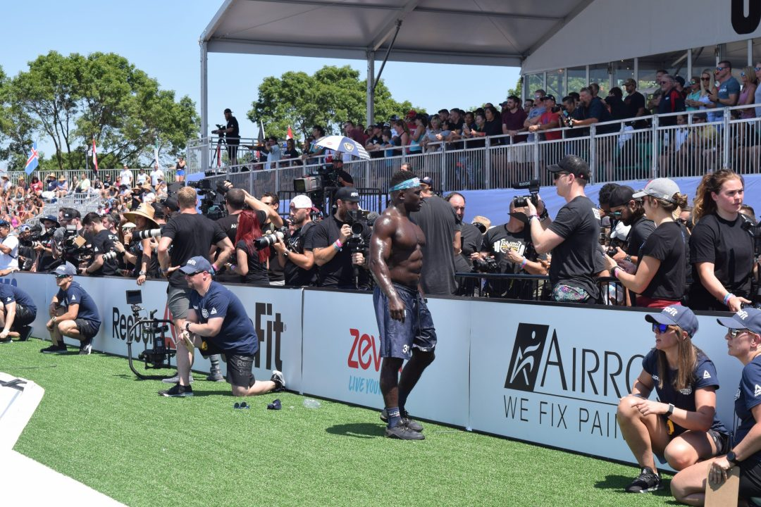 Chandler Smith talks to the media after finishing an event at the 2019 CrossFit Games