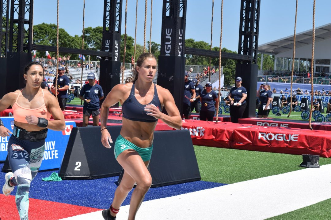 Rachel Garibay takes a lap between rounds of legless rope climbs at the 2019 CrossFit Games