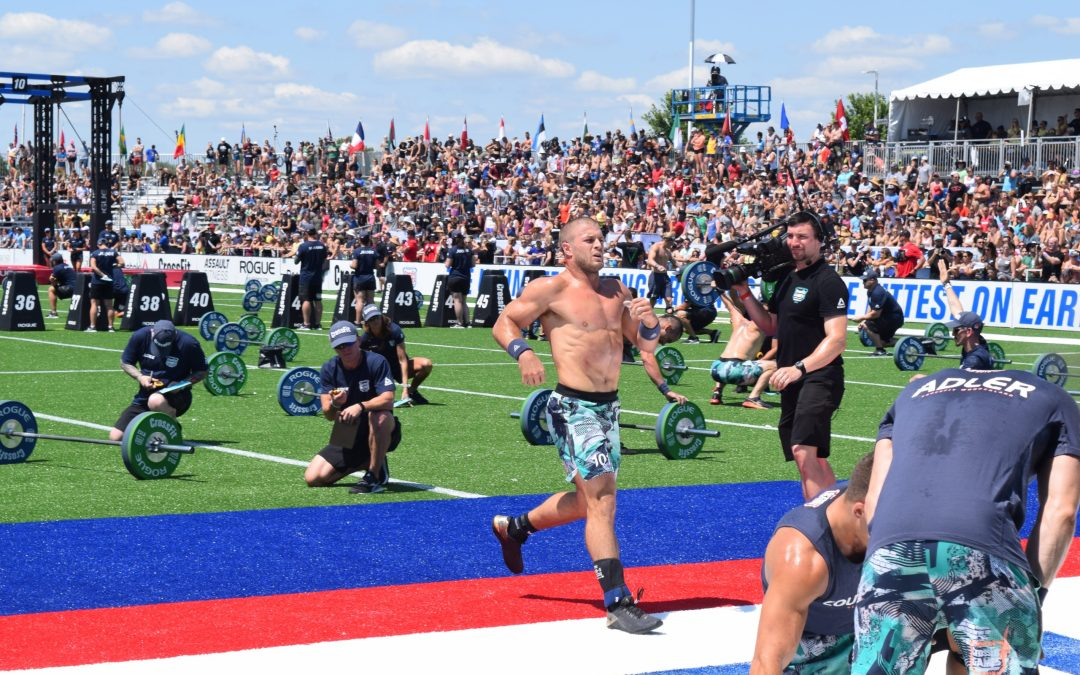 Jacob Heppner crosses the finish line of an event at the 2019 CrossFit Games